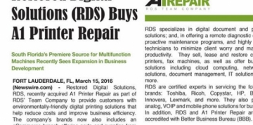 RDS Acquires A1 Printer Repairs